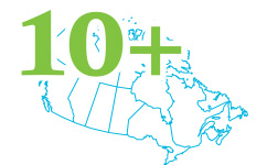A map of Canada with the number 10+ on top